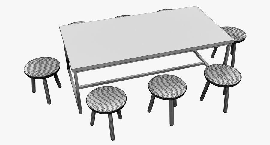 Mesa de comedor minimalista con bancos de madera royalty-free modelo 3d - Preview no. 8