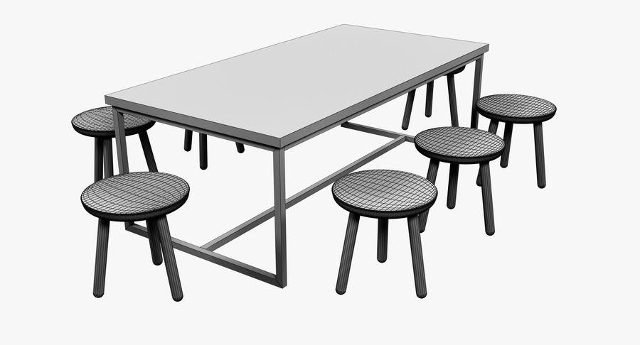 Mesa de comedor minimalista con bancos de madera royalty-free modelo 3d - Preview no. 9