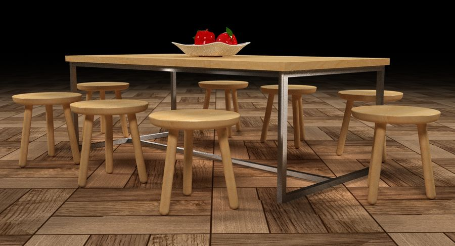 Mesa de comedor minimalista con bancos de madera royalty-free modelo 3d - Preview no. 15