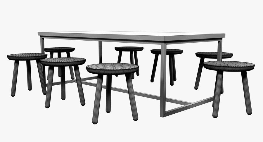 Mesa de comedor minimalista con bancos de madera royalty-free modelo 3d - Preview no. 11