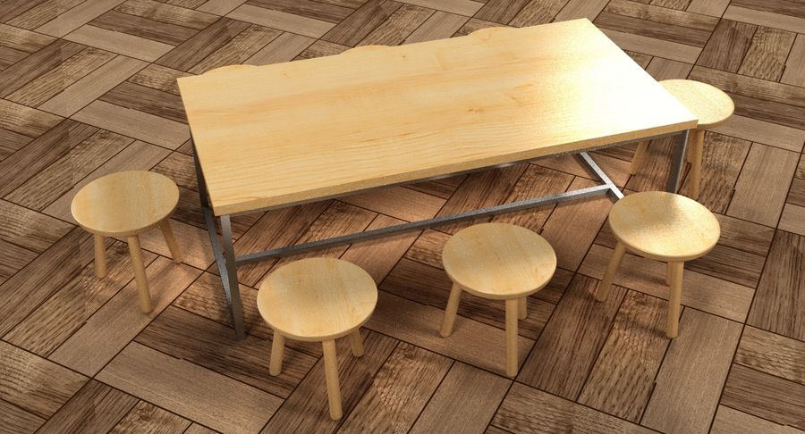 Mesa de comedor minimalista con bancos de madera royalty-free modelo 3d - Preview no. 3