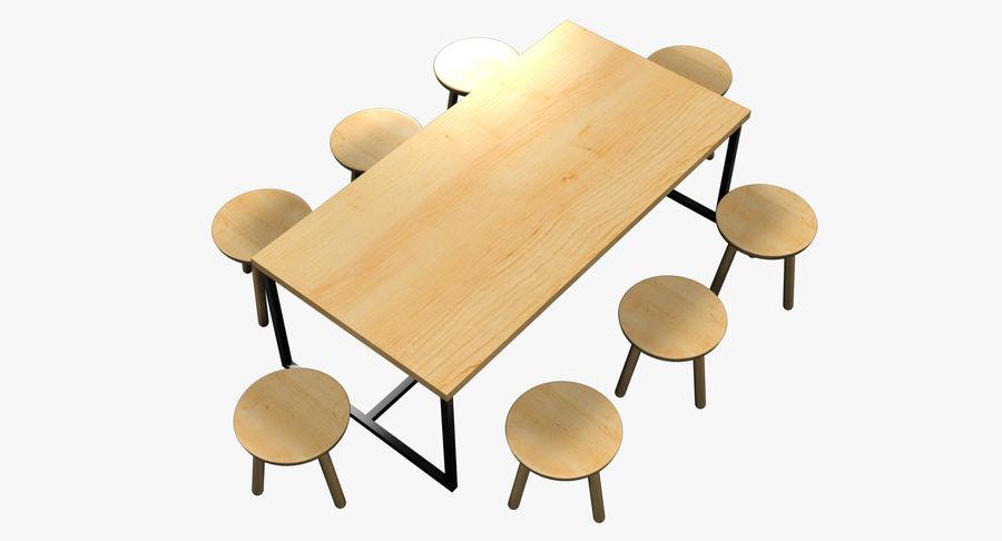 Mesa de comedor minimalista con bancos de madera royalty-free modelo 3d - Preview no. 5