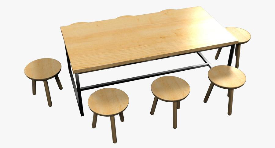 Mesa de comedor minimalista con bancos de madera royalty-free modelo 3d - Preview no. 2