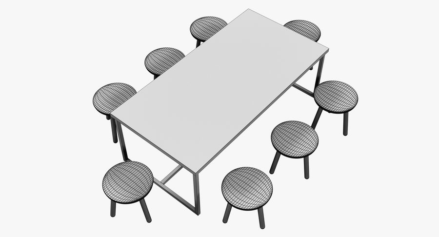 Mesa de comedor minimalista con bancos de madera royalty-free modelo 3d - Preview no. 10
