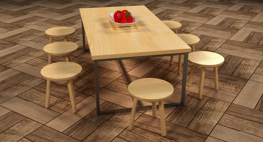 Mesa de comedor minimalista con bancos de madera royalty-free modelo 3d - Preview no. 16