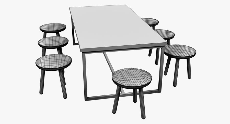 Mesa de comedor minimalista con bancos de madera royalty-free modelo 3d - Preview no. 12