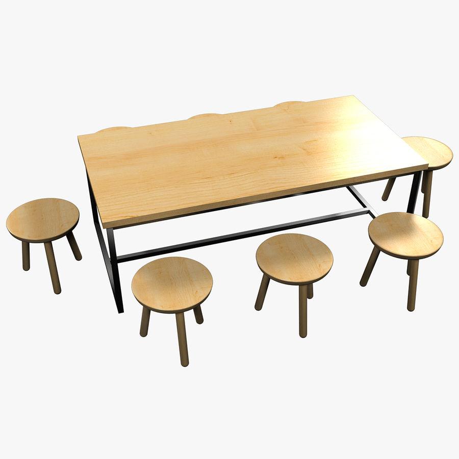 Mesa de comedor minimalista con bancos de madera royalty-free modelo 3d - Preview no. 1