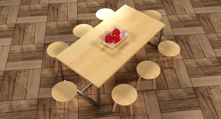 Mesa de comedor minimalista con bancos de madera royalty-free modelo 3d - Preview no. 14