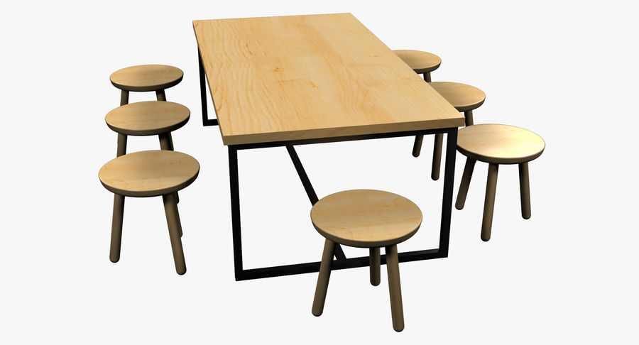 Mesa de comedor minimalista con bancos de madera royalty-free modelo 3d - Preview no. 7