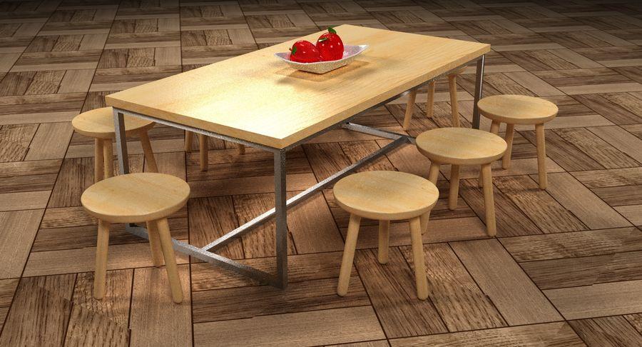 Mesa de comedor minimalista con bancos de madera royalty-free modelo 3d - Preview no. 13