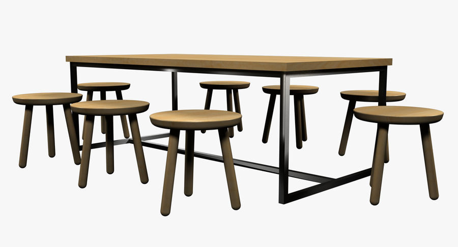 Mesa de comedor minimalista con bancos de madera royalty-free modelo 3d - Preview no. 6