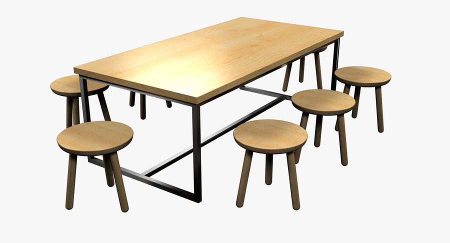 Mesa de comedor minimalista con bancos de madera royalty-free modelo 3d - Preview no. 4