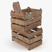 Vintage trälåda lådor med träavfall 3d model