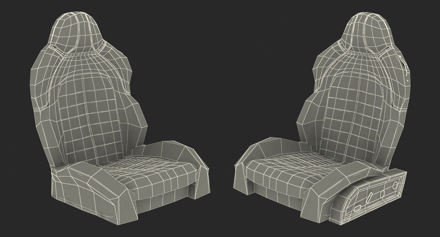 Sports Car Front Seat royalty-free 3d model - Preview no. 16