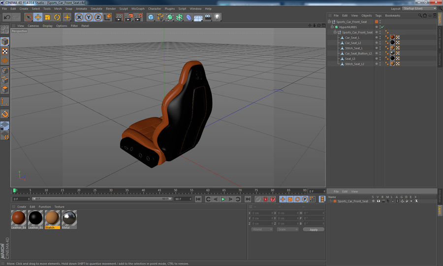 Sports Car Front Seat royalty-free 3d model - Preview no. 13