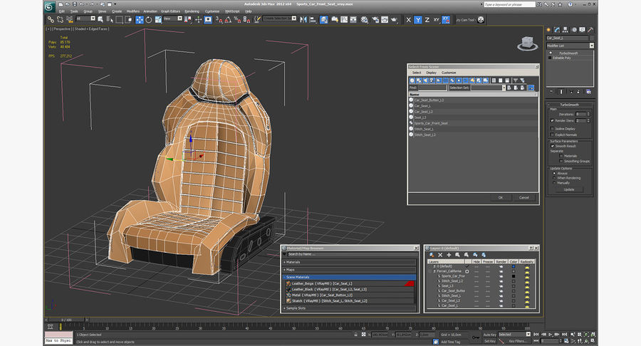 Sports Car Front Seat royalty-free 3d model - Preview no. 15