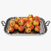 Silver Tray with Apples 3D Model 3d model