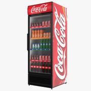 Fylld coca-kylskåp med en enda dörr 3d model
