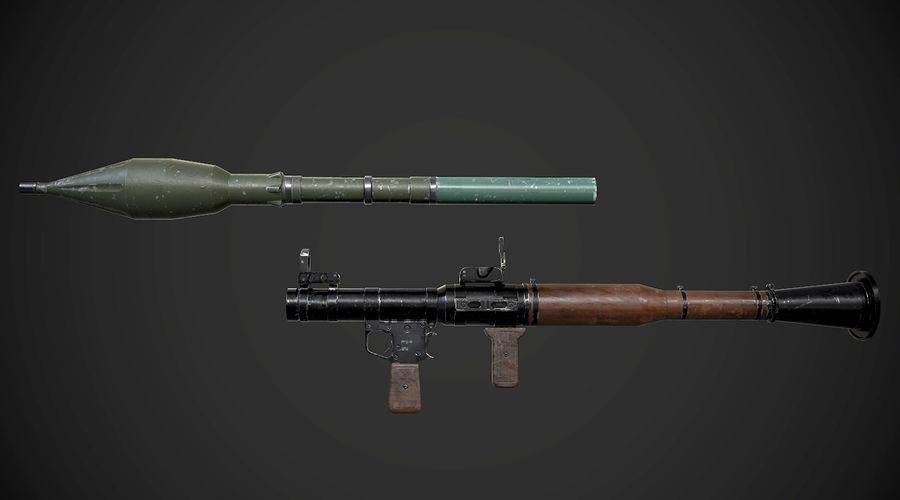 RPG-7 Przenośna wyrzutnia rakiet AAA Broń do gier royalty-free 3d model - Preview no. 10