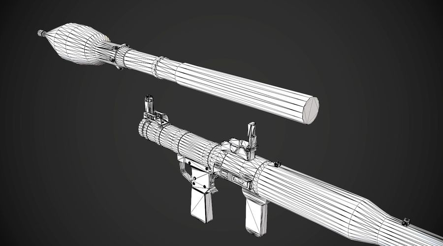 RPG-7 Przenośna wyrzutnia rakiet AAA Broń do gier royalty-free 3d model - Preview no. 21