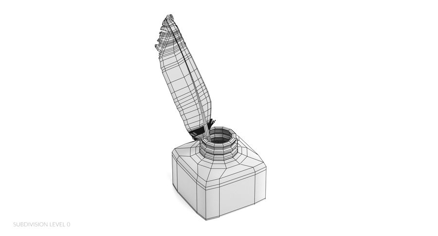Quill in Inkpot royalty-free 3d model - Preview no. 12