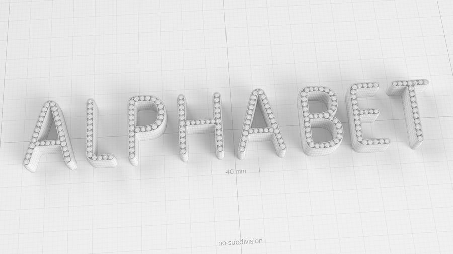 Diamonds_Alphabet Letters royalty-free 3d model - Preview no. 15