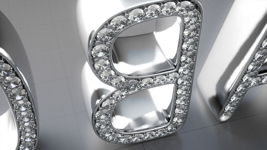 Diamonds_Alphabet Letters royalty-free 3d model - Preview no. 5