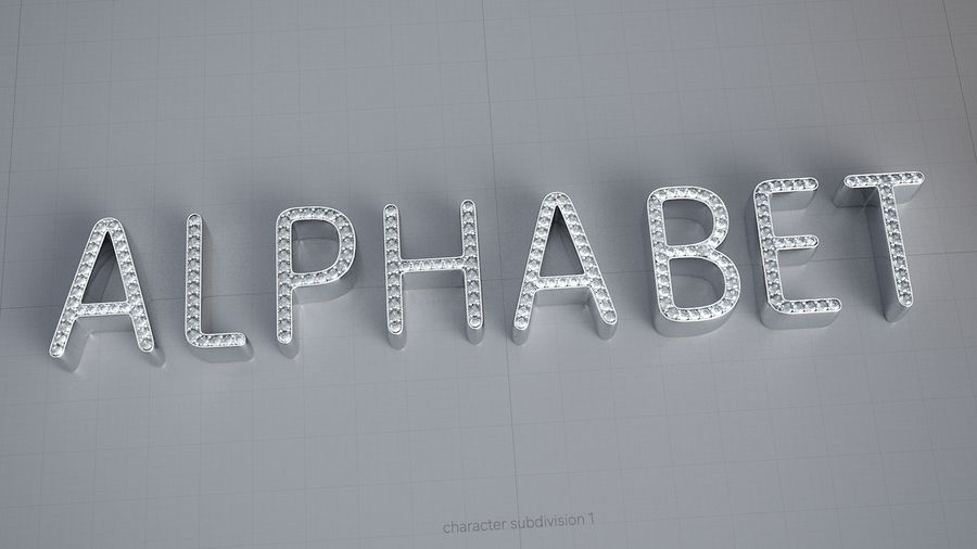 Diamonds_Alphabet Letters royalty-free 3d model - Preview no. 3