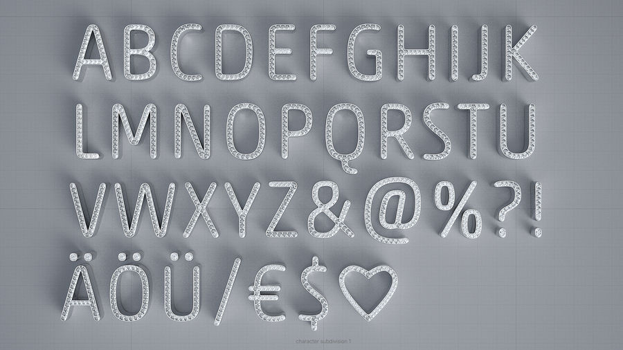 Diamonds_Alphabet Letters royalty-free 3d model - Preview no. 6