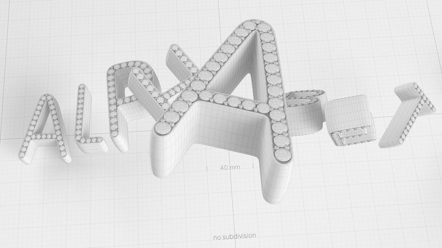 Diamonds_Alphabet Letters royalty-free 3d model - Preview no. 19
