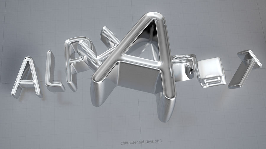 Diamonds_Alphabet Letters royalty-free 3d model - Preview no. 9