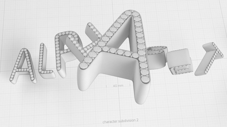 Diamonds_Alphabet Letters royalty-free 3d model - Preview no. 20