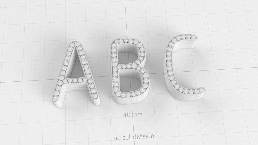 Diamonds_Alphabet Letters royalty-free 3d model - Preview no. 13
