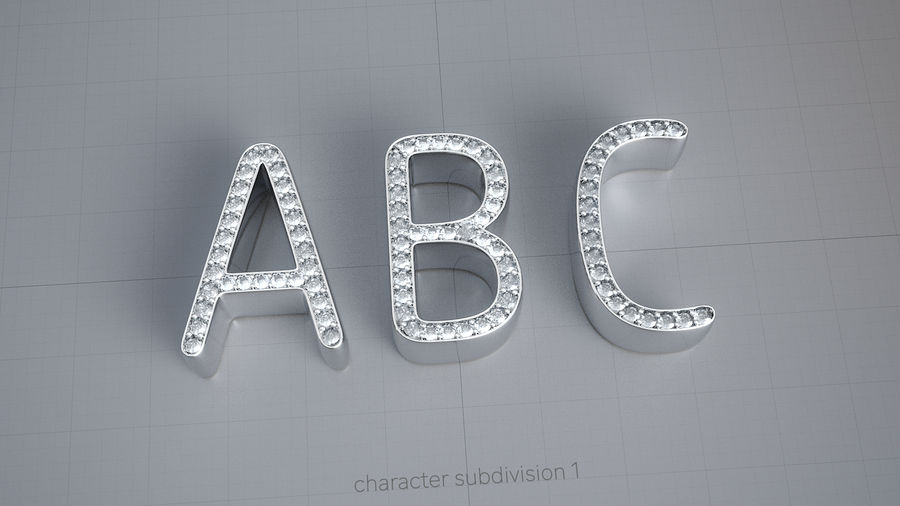 Diamonds_Alphabet Letters royalty-free 3d model - Preview no. 1