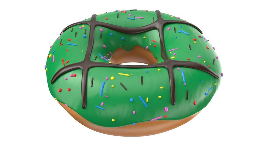 Dört Donut royalty-free 3d model - Preview no. 10