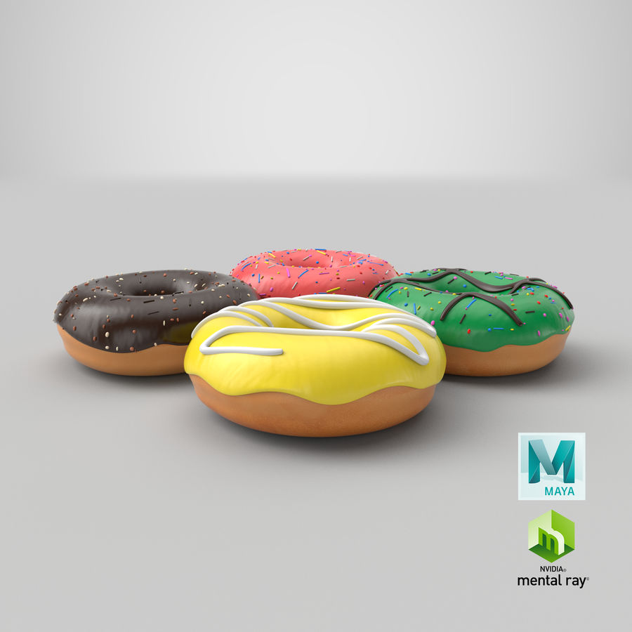 Dört Donut royalty-free 3d model - Preview no. 34