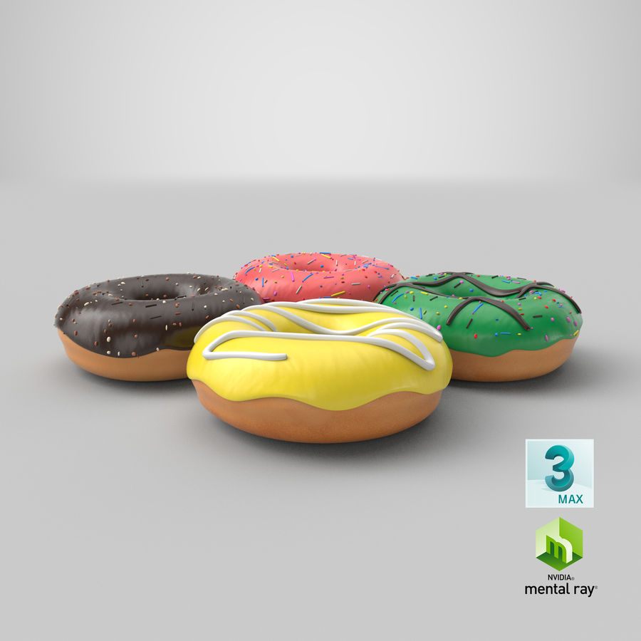 Dört Donut royalty-free 3d model - Preview no. 36