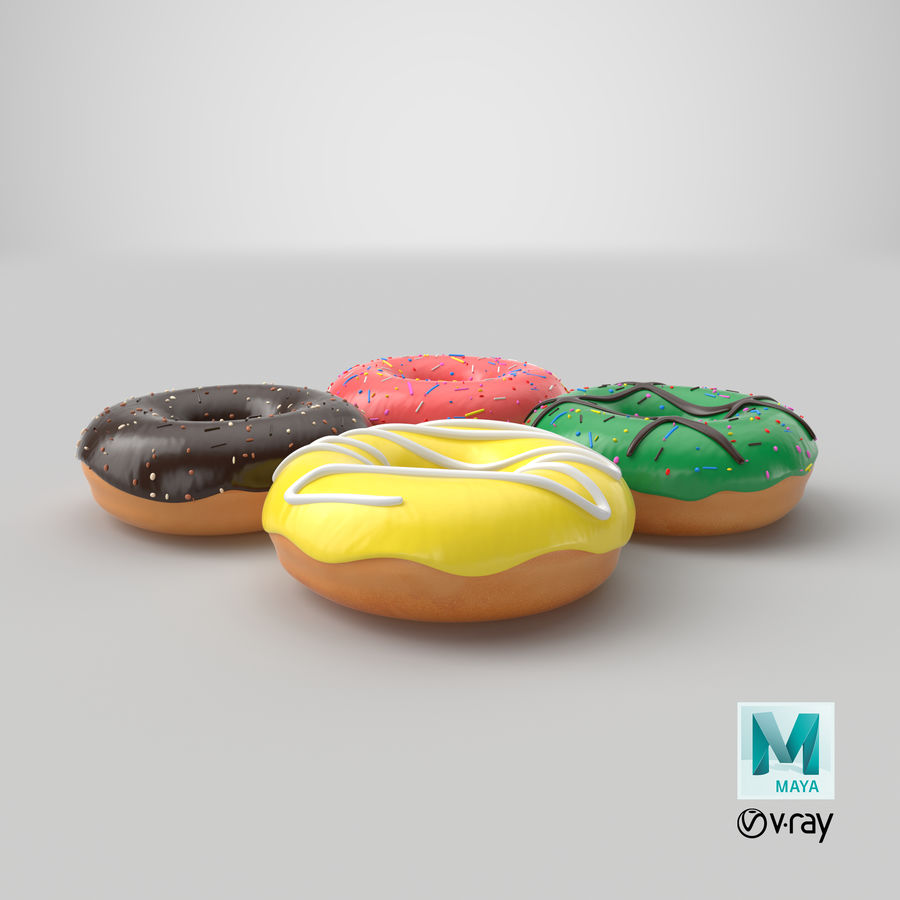 Dört Donut royalty-free 3d model - Preview no. 33