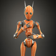 Ouvrier bot orange 3d model