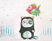 Balon ile şirin küçük kedi 3d model