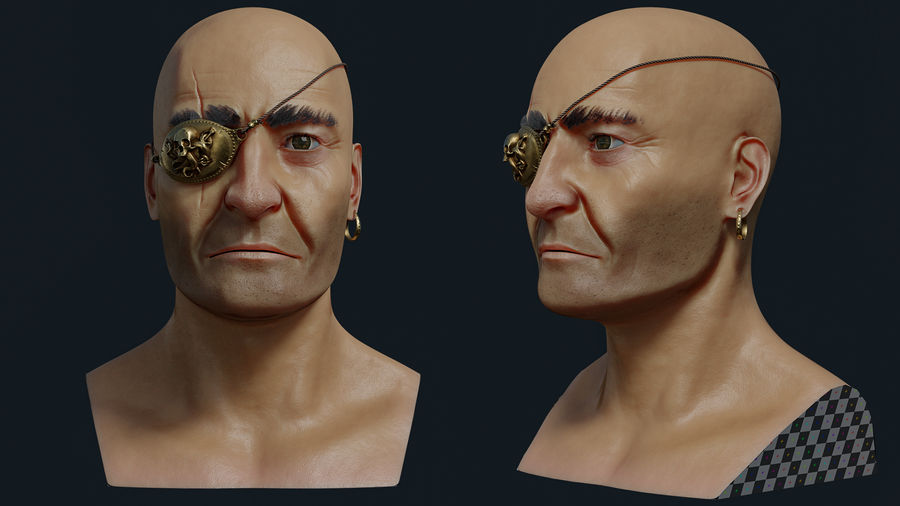 Pirate royalty-free 3d model - Preview no. 3
