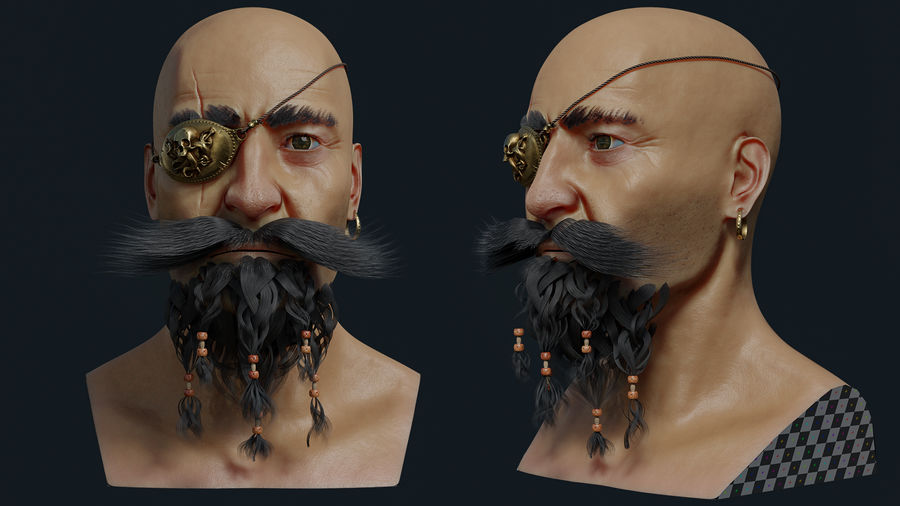 Pirate royalty-free 3d model - Preview no. 2