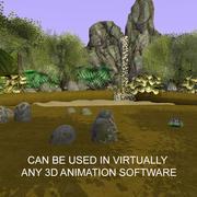Geanimeerde cartoon waterval bos 3d model