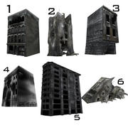 Ruined Destroyed Buildings 3d model