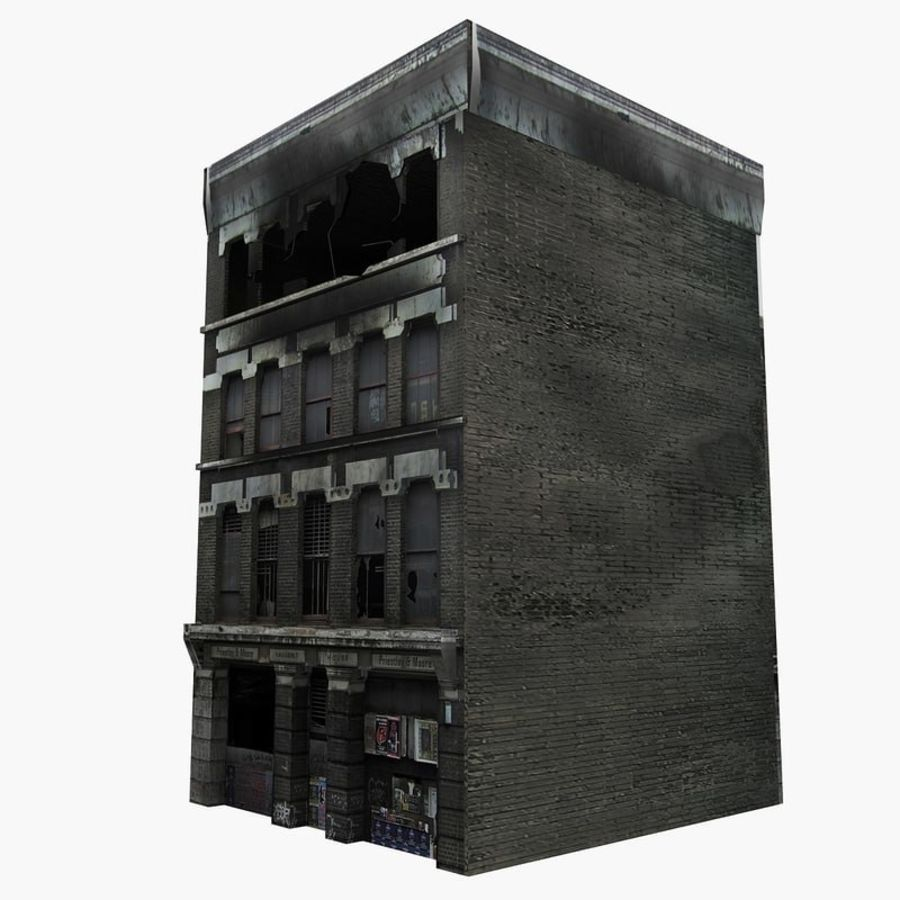 Ruined Destroyed Buildings royalty-free 3d model - Preview no. 7