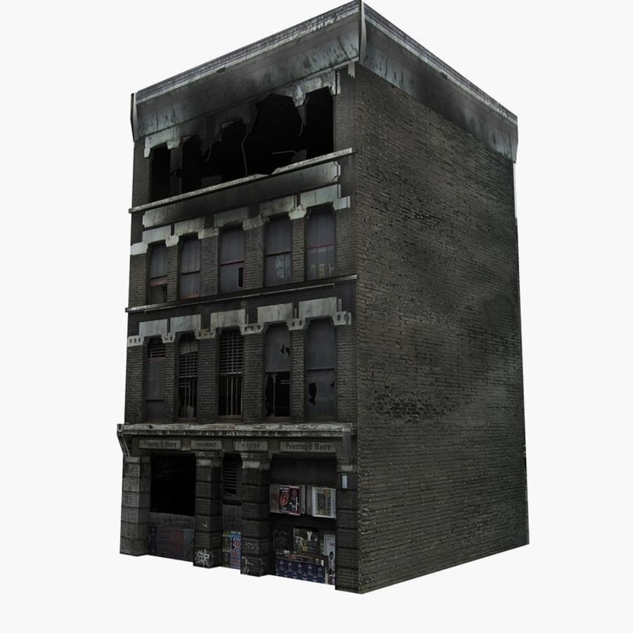 Ruined Destroyed Buildings royalty-free 3d model - Preview no. 2