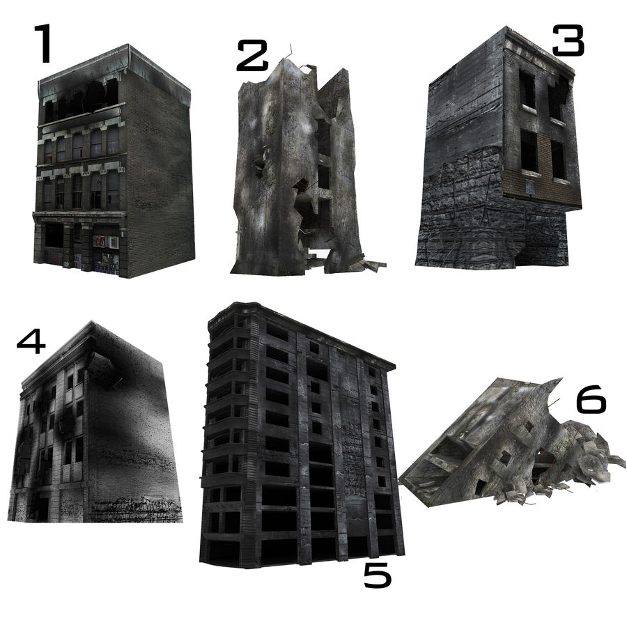 Ruined Destroyed Buildings royalty-free 3d model - Preview no. 1