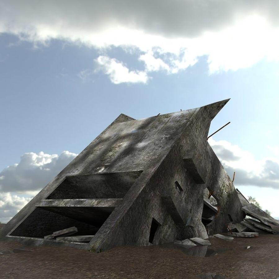 Ruined Destroyed Buildings royalty-free 3d model - Preview no. 40