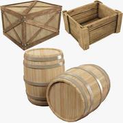 木箱と樽のコレクション 3d model