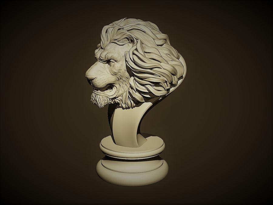 Lion head Sculpture royalty-free 3d model - Preview no. 3